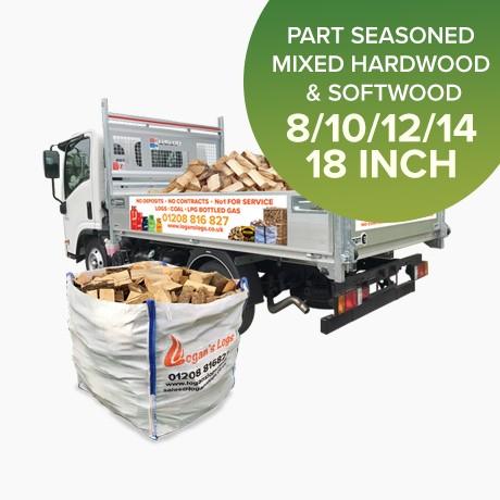 Part Seasoned Mixed Hardwood & Softwood Logs